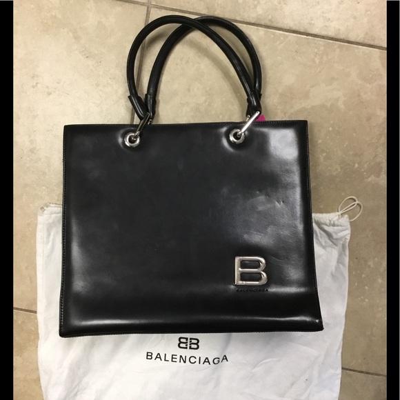 Balenciaga Handbags - *SOLD** Balenciaga black leather tote bag